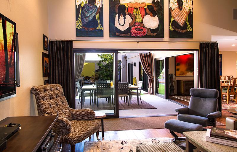 Living Area with Open Glass Doors